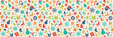 Panoramic Christmas Pattern With Colourful Decoration. Vector.