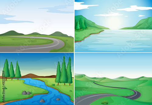 Photo Stands Turquoise Four nature scenes with rivers and roads