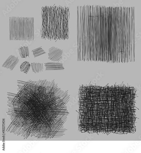 Fototapeta grunge rough hatching drawing textures set. vector illustration obraz na płótnie