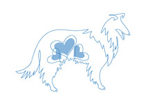 Dog With A Heart. Collie  Illu...