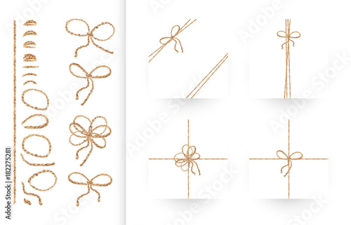 Fotografía  Set of ribbons, bows and ornaments made of natural linen rope and twines
