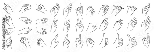 Foto  Hands isolated on a white background, Hand collection, vector outline illustrati