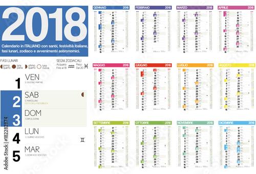 2018 italian calendar with italian holidays, zodiac , saints