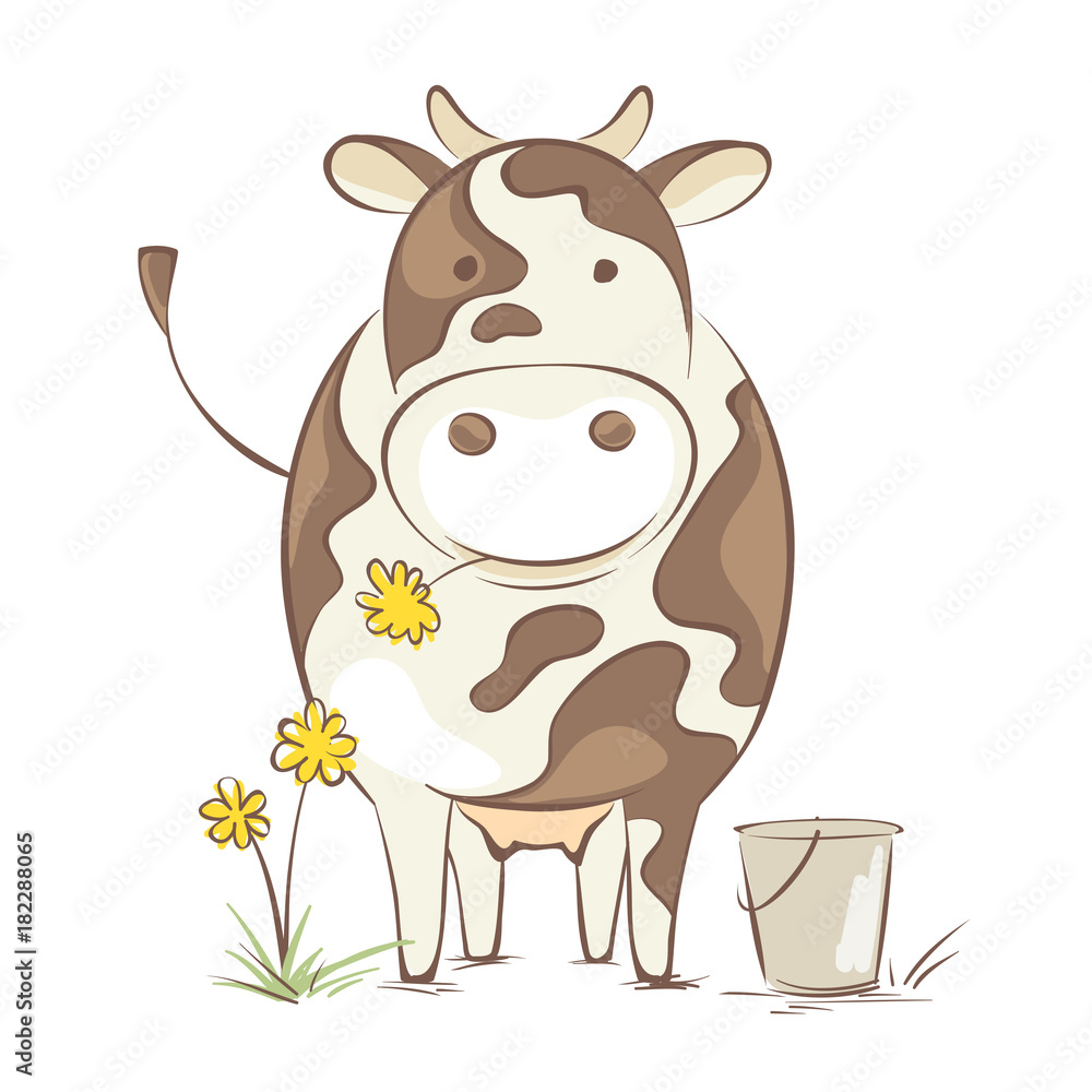 Cow with dandelion / Funny vector illustration, cheerful cow en face ...