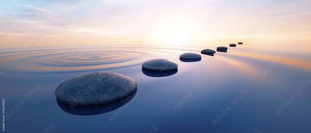Fototapety, obrazy: Steine im See bei Sonnenuntergang