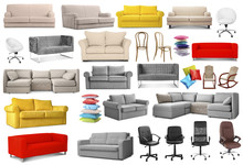 Collage Of Stylish Sofas And Chairs On White Background