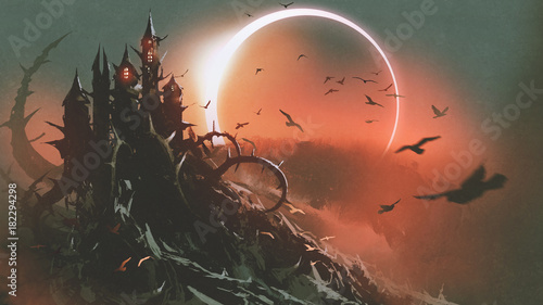 Poster Deep brown scenery of castle of thorn with solar eclipse in dark red sky, digital art style, illustration painting