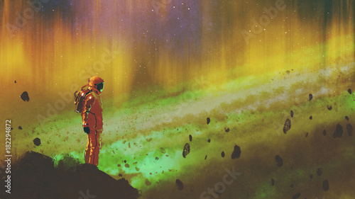 Foto op Aluminium Grandfailure the astronaut standing on a rock in starry outer space with colorful light, digital art style, illustration painting