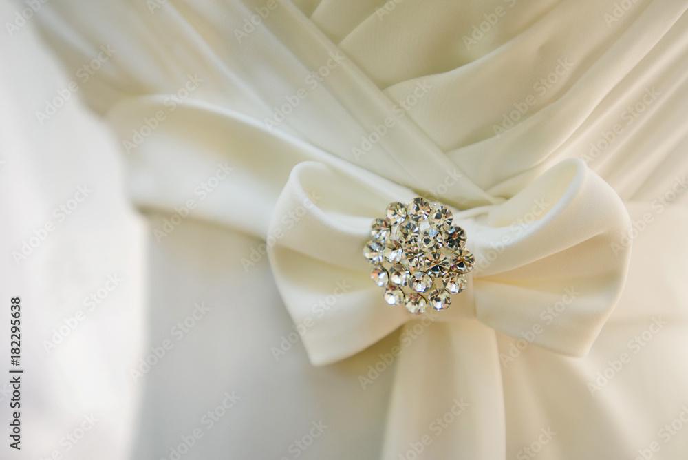Fototapety, obrazy: Brides wedding dress closeup of decoration detail