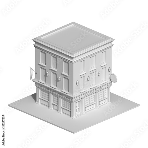 Irish pub building in thin line style  Architectural sketch