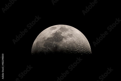 Close up of the first quarter half moon