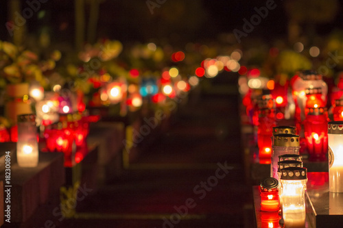 Canvas Prints Cemetery Burning candles on cemetery