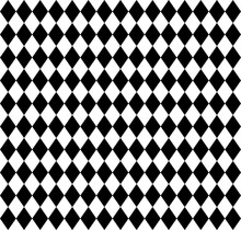 Abstract Vector Seamless Pattern With Black Squares On White Background. Flat Illustration Of Chess Board. Black And White Image With Geometric Figures. Game Play Composition With Rhombuses.