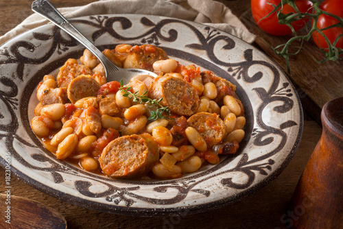 Cassoulet with Sausage, Bacon, Beans and Tomato