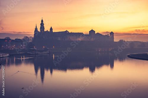 Fototapeta Krakow, Poland, Wawel Castle and Wawel cathedral in the morning over Vistula river  obraz