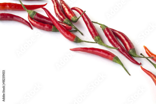 Staande foto Hot chili peppers Red chili peppers on a white background diagonally. Top view. Horizontally
