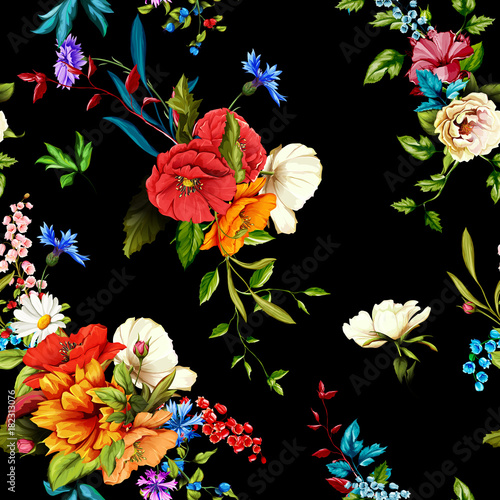 Tuinposter Flowers. Poppy, wild roses, rose, chamomile(camomile), cornflower with lily of the valley and leaves on black. Seamless background pattern. Hand drawn. Vector - stock.