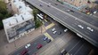 Bridge and roadway in city. Footage. Speeding cars on Bridge. Urban living and transportation concept. Traffic in the city on the bridge