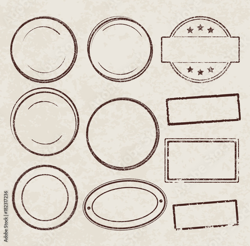 set of grunge vector templates for rubber stamps on old paper