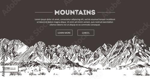 Fototapeta Mountains ranges. Nature sketch. Spiky mountain landscape sketch hand drawing, in engraving etching style, for extreme climbing sport, adventure travel and tourism design. Vector panorama. obraz