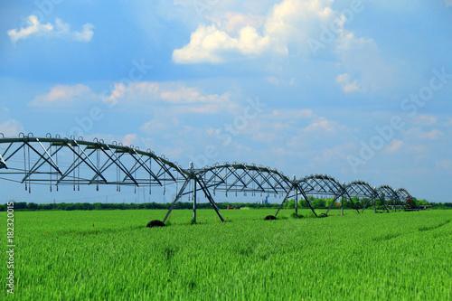 Fotografía  Crop Irrigation using the center pivot sprinkler system