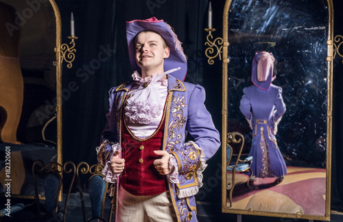 Fotografia, Obraz  Actor dressed historical costume in interior of old theater.