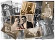 canvas print picture - Alten Zeiten, Collage mit Familienfotos aus den letzten 100 Jahren