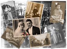 Alten Zeiten, Collage Mit Fami...