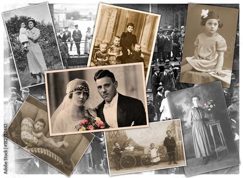 Alten Zeiten, Collage mit Familienfotos aus den letzten 100 Jahren Canvas Print