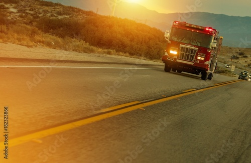 Firetruck Speeding on Highway Poster Mural XXL
