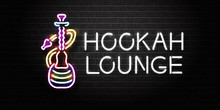 Vector Realistic Isolated Neon Sign Of Hookah For Decoration And Covering On The Wall Background. Concept Of Hookah Lounge.