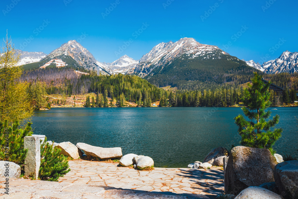 Fototapety, obrazy: Strbske Pleso, beautiful lake in Tatra Mountains in Slovakia