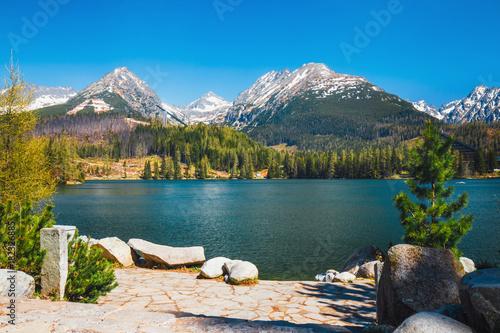 Fototapeta Strbske Pleso, beautiful lake in Tatra Mountains in Slovakia obraz
