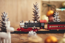 Christmas Toy Train With Decoration, Smow And Lighting