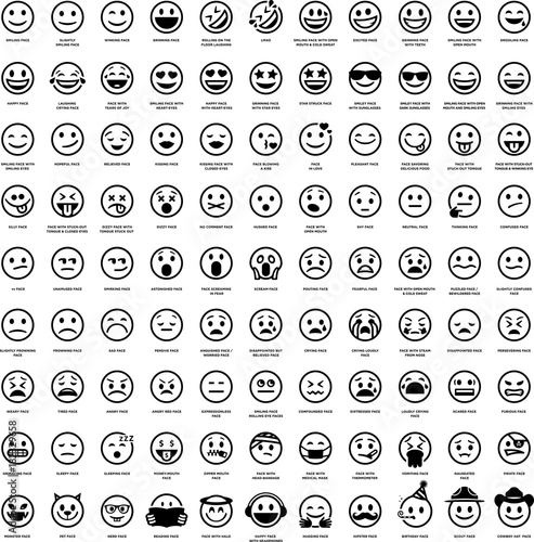 Fotografie, Obraz  99 Smiley Face Emoji Icons