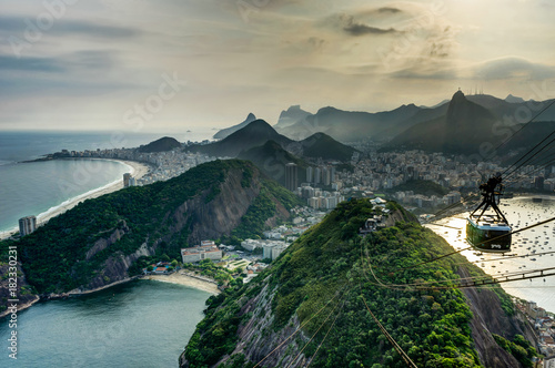 Photo Rio de Janeiro View from Sugarloaf Mountain over the City during sunset