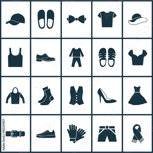 314dee0f Garment icons set with singlet, trilby, sundress and other casual elements.  Isolated vector illustration garment icons.