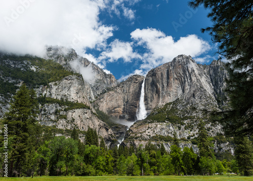 Photo  View of Yosemite Falls from Southside Drive.