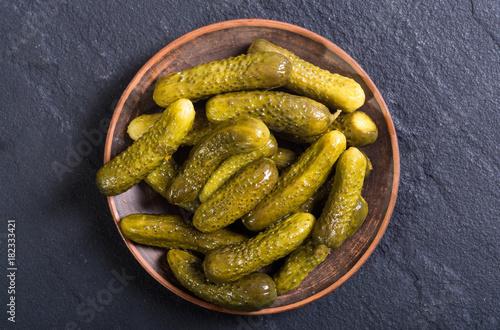 Marinated cucumber in plate
