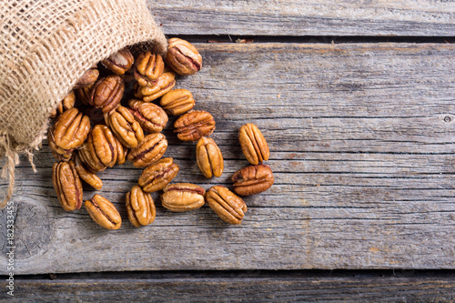 Pecan nuts in burlap bag