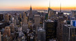 New York Skyline Manhatten Cityscape Empire State Building from Top of the Rock Sunset
