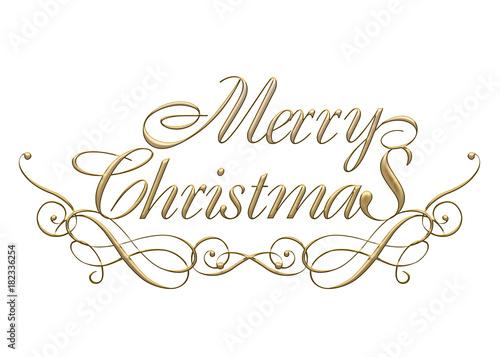 Merry Christmas Writing Clipart.Merry Christmas Logo Of Golden Metallic Relief Like Cursive