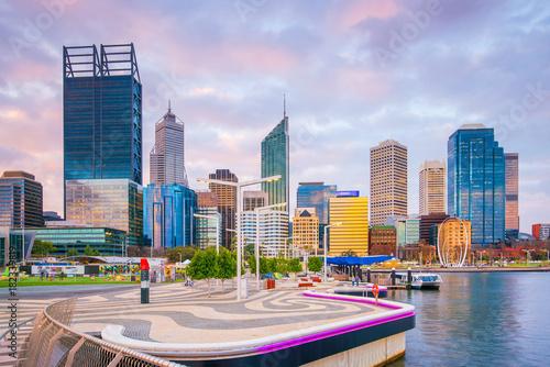 Poster Cygne Downtown Perth skyline in Australia
