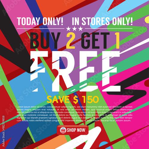 Fototapety, obrazy: Buy 2 Get 1 Free Banner Vector Illustration