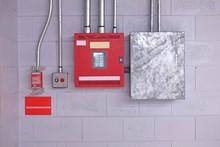 Fire Alarm Switch On Wall. Ele...