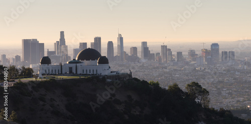 Photo  Beautiful Light Los Angeles Downtown City Skyline Urban Metropolis