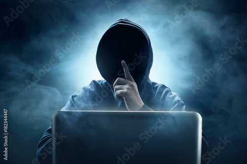 Fotografie, Tablou  Hacker using laptop