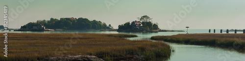 Montage in der Fensternische Olivgrun Long Island Shoreline Connecticut, Islands Panorama