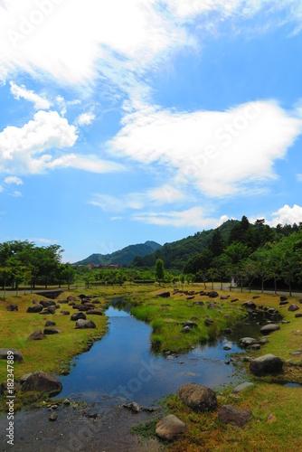 Spoed Foto op Canvas Nieuw Zeeland 青空と湖畔の風景1