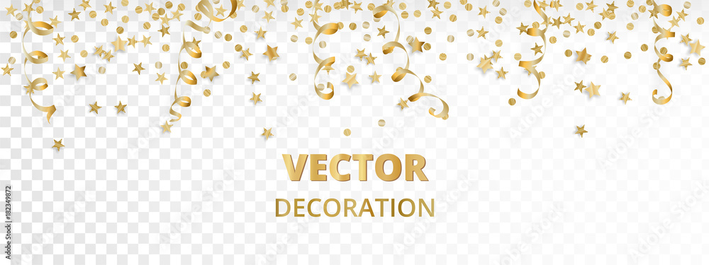 Fototapeta Holiday background. Isolated golden garland border, frame. Hanging baubles, streamers, falling confetti